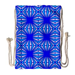 Retro Blue Pattern Drawstring Bag (large)