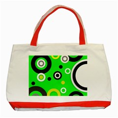 Florescent Green Yellow Abstract  Classic Tote Bag (red)