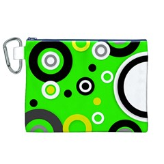 Florescent Green Yellow Abstract  Canvas Cosmetic Bag (xl)