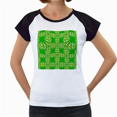 Retro Green Pattern Women s Cap Sleeve T