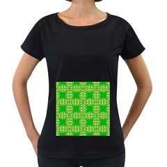 Retro Green Pattern Women s Loose Fit T Shirt (black)