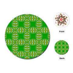 Retro Green Pattern Playing Cards (round)