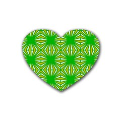 Retro Green Pattern Heart Coaster (4 Pack)