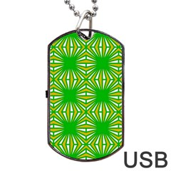 Retro Green Pattern Dog Tag USB Flash (Two Sides)