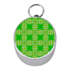 Retro Green Pattern Mini Silver Compasses
