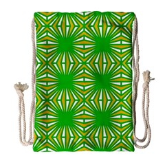 Retro Green Pattern Drawstring Bag (large)