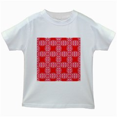 Retro Red Pattern Kids White T Shirts