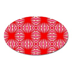 Retro Red Pattern Oval Magnet