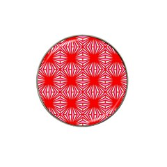 Retro Red Pattern Hat Clip Ball Marker (4 Pack)