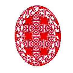 Retro Red Pattern Oval Filigree Ornament (2-Side)