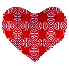 Retro Red Pattern Large 19  Premium Heart Shape Cushions