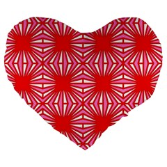 Retro Red Pattern Large 19  Premium Flano Heart Shape Cushions