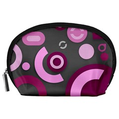 Grey Plum Abstract Pattern  Accessory Pouches (large)