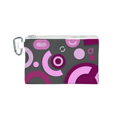 Grey Plum Abstract Pattern  Canvas Cosmetic Bag (S)