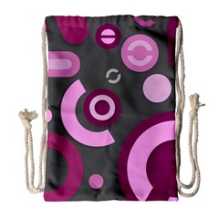 Grey Plum Abstract Pattern  Drawstring Bag (Large)