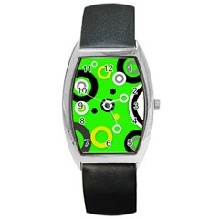Florescent Green Yellow Abstract  Barrel Metal Watches