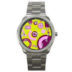 Florescent Yellow Pink Abstract  Sport Metal Watches
