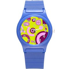 Florescent Yellow Pink Abstract  Round Plastic Sport Watch (s)
