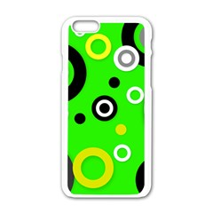Florescent Green Yellow Abstract  Apple Iphone 6 White Enamel Case