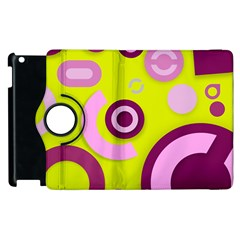 Florescent Yellow Pink Abstract  Apple Ipad 3/4 Flip 360 Case