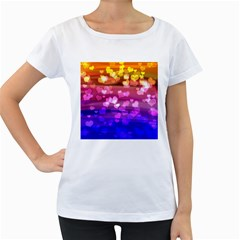 Lovely Hearts, Bokeh Women s Loose-Fit T-Shirt (White)