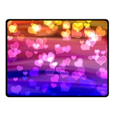 Lovely Hearts, Bokeh Double Sided Fleece Blanket (Small)