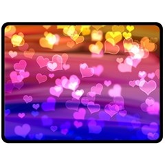 Lovely Hearts, Bokeh Double Sided Fleece Blanket (Large)