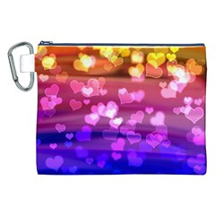 Lovely Hearts, Bokeh Canvas Cosmetic Bag (XXL)