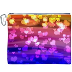 Lovely Hearts, Bokeh Canvas Cosmetic Bag (xxxl)