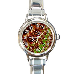 Special Fractal 31 Green,brown Round Italian Charm Watches