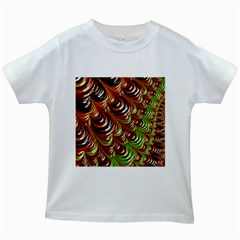 Special Fractal 31 Green,brown Kids White T-Shirts