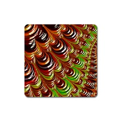 Special Fractal 31 Green,brown Square Magnet