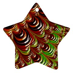 Special Fractal 31 Green,brown Star Ornament (two Sides)
