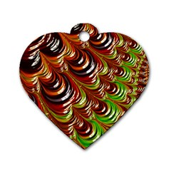 Special Fractal 31 Green,brown Dog Tag Heart (one Side)