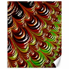 Special Fractal 31 Green,brown Canvas 11  X 14