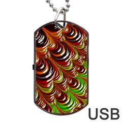 Special Fractal 31 Green,brown Dog Tag USB Flash (One Side)