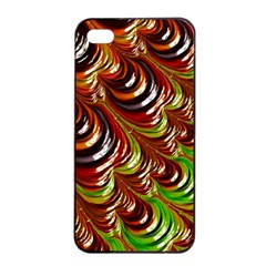 Special Fractal 31 Green,brown Apple Iphone 4/4s Seamless Case (black)