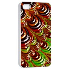 Special Fractal 31 Green,brown Apple iPhone 4/4s Seamless Case (White)