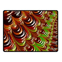 Special Fractal 31 Green,brown Double Sided Fleece Blanket (Small)