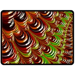 Special Fractal 31 Green,brown Double Sided Fleece Blanket (large)