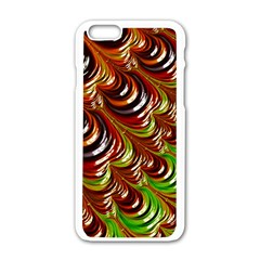 Special Fractal 31 Green,brown Apple Iphone 6 White Enamel Case