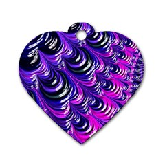 Special Fractal 31pink,purple Dog Tag Heart (one Side)