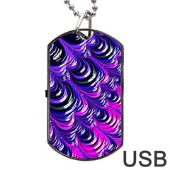 Special Fractal 31pink,purple Dog Tag USB Flash (One Side)