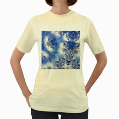Special Fractal 17 Blue Women s Yellow T Shirt