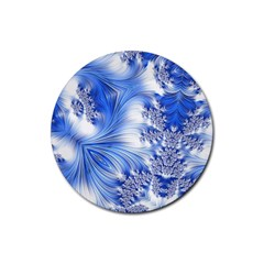 Special Fractal 17 Blue Rubber Round Coaster (4 Pack)