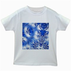 Special Fractal 17 Blue Kids White T Shirts