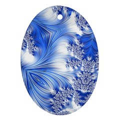 Special Fractal 17 Blue Oval Ornament (two Sides)