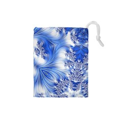 Special Fractal 17 Blue Drawstring Pouches (small)