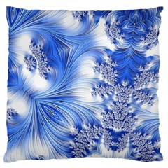 Special Fractal 17 Blue Large Flano Cushion Cases (one Side)
