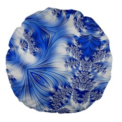 Special Fractal 17 Blue Large 18  Premium Flano Round Cushions